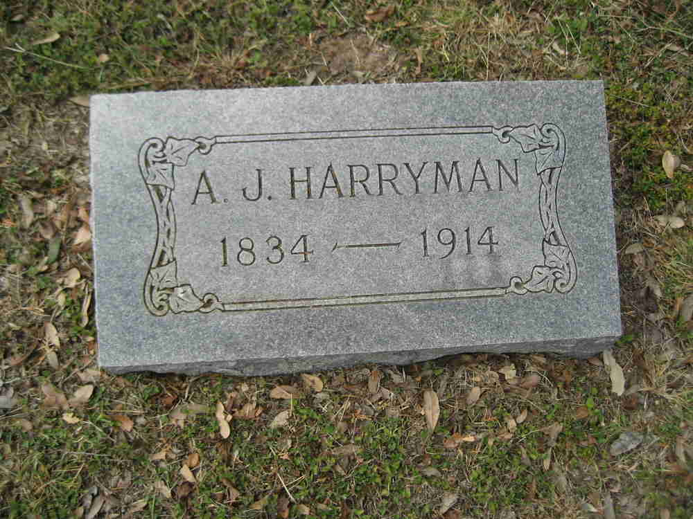 Headstone of A. J. Harryman 1834-1914